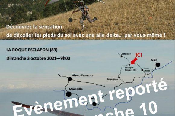 Journée de découverte du deltaplane reportée au dimanche 10 octobre 2021 !