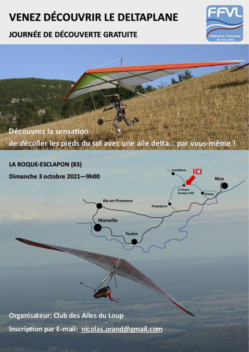Venez découvrir le deltaplane gratuitement à La Roque Esclapon, le 3 octobre 2021 !